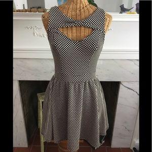 Black White Polka Dot Cut Out Dress